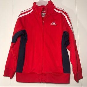Adidas Track Jacket Size 4T Red & Navy Blue Unisex